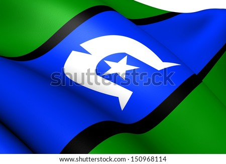 Torres Strait Islanders Flag. Close Up.  - stock photo