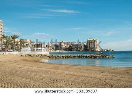 TORREVIEJA, SPAIN - DECEMBER 31 2015: People enjoying a sunny end of the year in one of Spains most popular tourist resorts