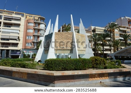 TORREVIEJA, SPAIN - OCTOBER 7, 2014:The monument Coralista (Habanera) in Torrevieja. Torrevieja is a Mediterranean city, with a privileged location and the unique climatic conditions.