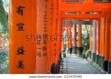 Torri at Fushimi Inari-taisha - stock photo