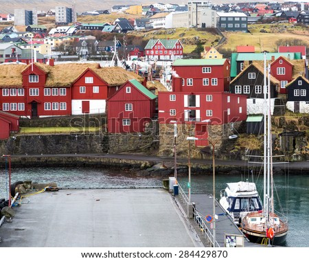 Torshavn, Faroe Islands, 7th February 2015. Torshavn harbour has a mix of traditional and modern buildings - stock photo