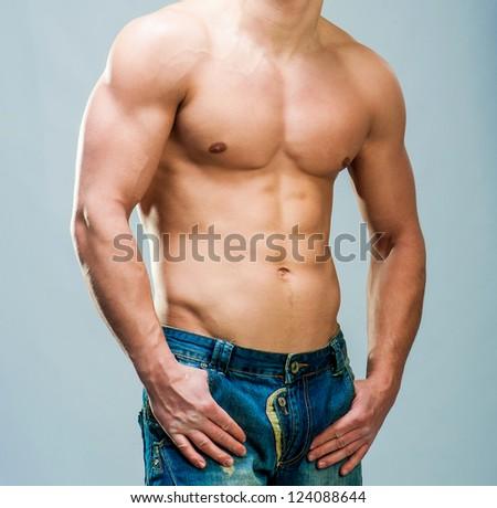 torso attractive athletic male sexual - stock photo