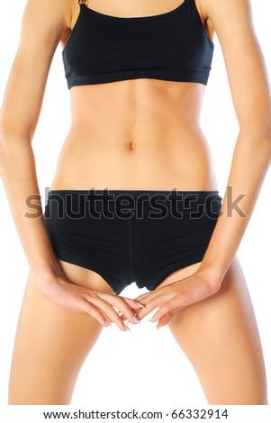 torso of a muscular woman - stock photo