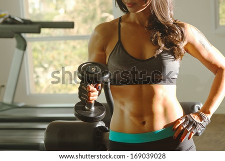 Torso of a young fit woman lifting dumbbells - stock photo