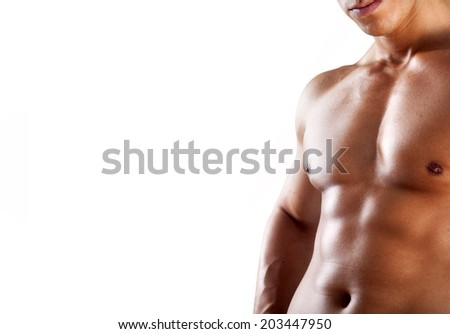 Torso of muscular man on white background - stock photo