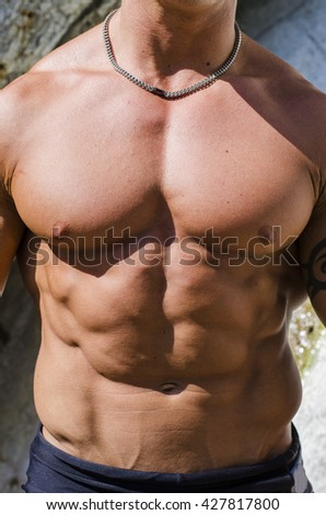 Torso of muscular man shirtless outside in the sun - stock photo