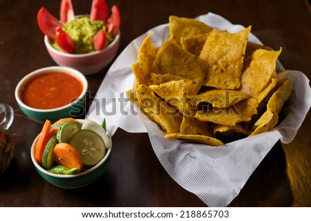 Tortilla Chips and Salsa Cheese on wood