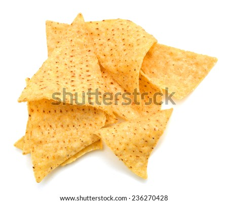 tortilla chips isolated on white  - stock photo