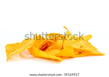 Tortilla chips isolated on white background - stock photo