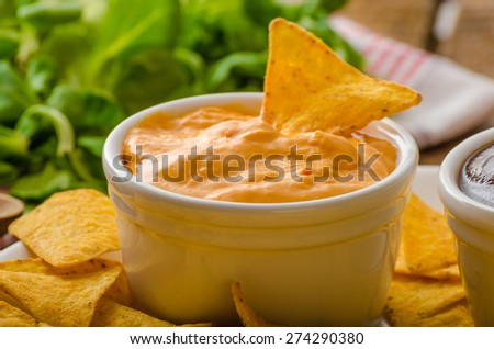 Tortilla chips with cheese dip and barbecue, czech beer - stock photo