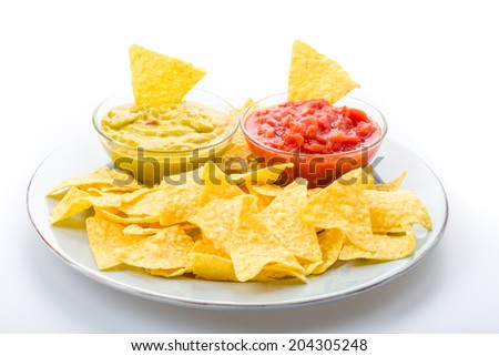 Tortilla chips with salsa to enjoy - stock photo