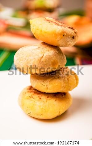tortilla, corn flour traditional food of Ecuador - stock photo