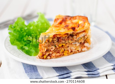 Tortilla (Lavash), Chicken, Zucchini and Sweet Corn Layered Cake