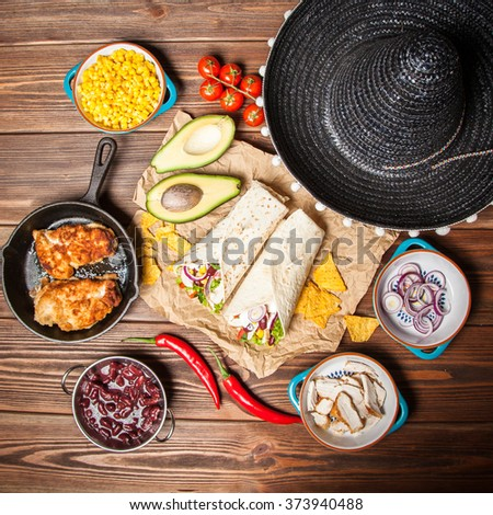 Tortilla with a mix of ingredients - stock photo