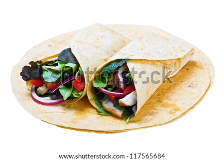 tortilla with chicken meat and fresh vegetables - stock photo