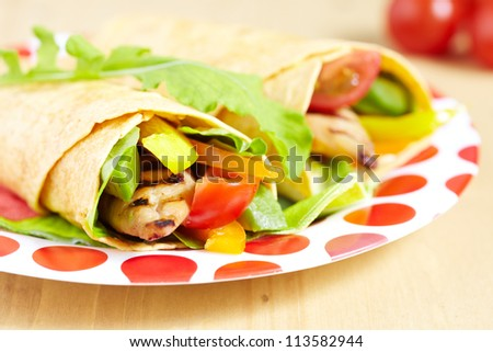 Tortilla with grilled chicken and vegetables on the plate - stock photo