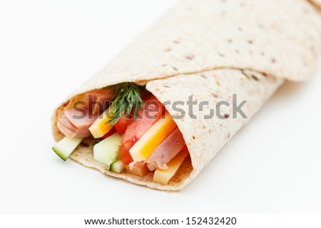 tortilla with ham and vegetables