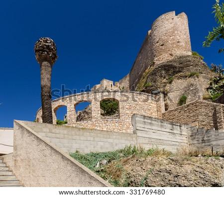 Tortosa castle walls, Tarragona province, Spain. - stock photo