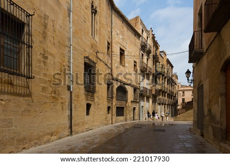 TORTOSA, SPAIN - AUGUST 12, 2014: Street in  old district. Tortosa, Spain