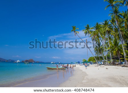 TORTUGA ISLAND , COSTA RICA - MARCH 25 : Tropical beach in Tortuga island Costa Rica on March 25 2016. The island covers approximately 300 acres and includes forests and beaches