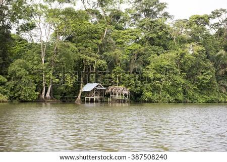 Tortuguero river in costa rica - stock photo