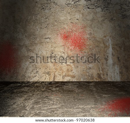 Torture chamber with bloodstained walls - stock photo