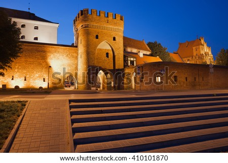 Torun, Poland, Bridge Gate to the Old Town, medieval city wall fortification