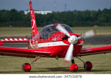 Torun, POLAND - November 23, 2015: Towing plane at Polish National Aerobatics Championships