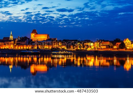 Torun, Poland: old town, cathedral, defensive wall, Vistula river