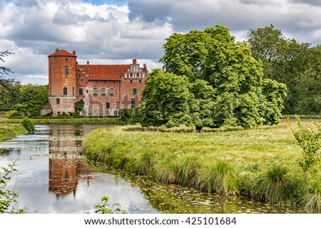 Torups slott is a castle in Svedala Municipality, Scania, in southern Sweden. It is situated approximately 15 kilometres (9.3 mi) east of Malmo. - stock photo