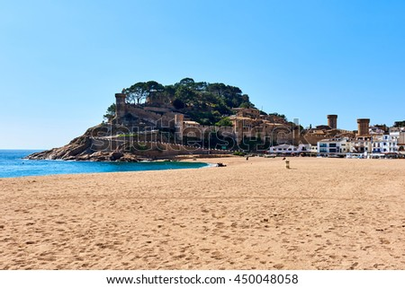 Tossa de Mar Castle, view from the beach. Costa Brava, Spain