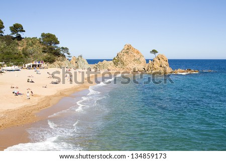 TOSSA DE MAR, SPAIN - MAY 1: View of Tossa de Mar, a typical summer destination in Mediterranean coast, on May 1, 2012, in Tossa de Mar, Spain.