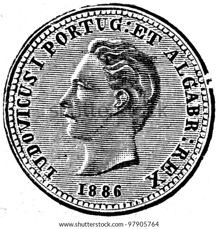"""Tostan, Portugal, 1886 - an illustration to articke """"Coins"""" of the encyclopedia publishers Education, St. Petersburg, Russian Empire, 1896 - stock photo"""