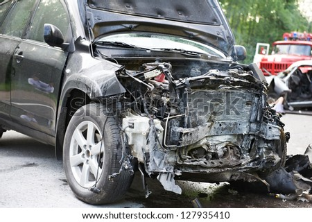 Total car crash smash accident on an interstate road - stock photo