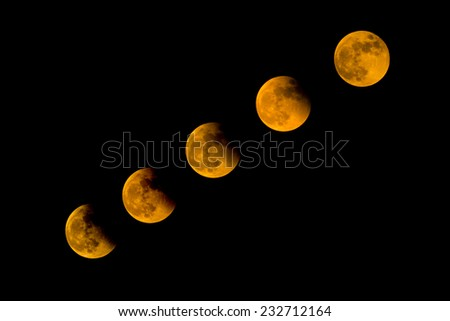 Total Lunar Eclipse 2014 on dark sky - stock photo