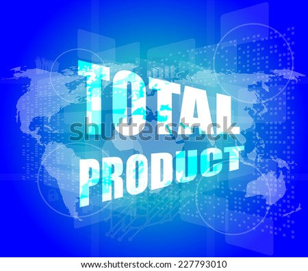 Total product words on digital screen stock illustration 227793010 total product words on digital screen background with world map gumiabroncs Choice Image