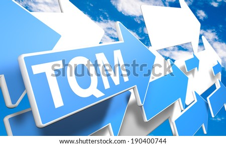 Total Quality Management 3d render concept with blue and white arrows flying in a blue sky with clouds - stock photo