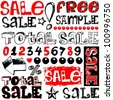 total sale, crazy doodles isolated on white background - stock photo