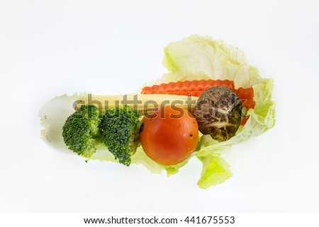 Total vegetables on white background, red tomato, gray mushroom,