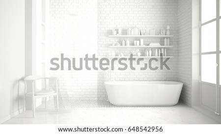 Total White Classic Vintage Bathroom With Tub Minimalist Interior Design 3d Illustration