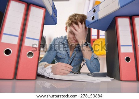 Totally desperate businessman - stock photo
