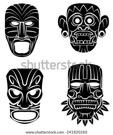Totem Mask Set Collection - stock photo