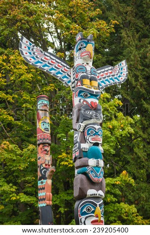 Totem Pole at Stanley Park, Vancouver, British Columbia - stock photo