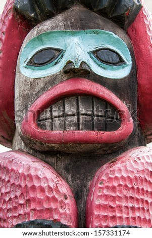 Totem Pole in Haines Alaska - stock photo