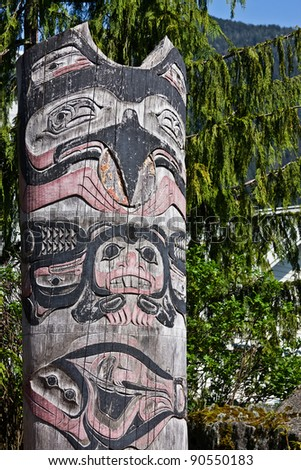 Totem Pole in Ketchikan, Alaska - stock photo