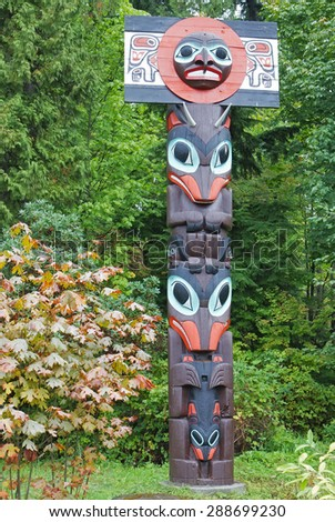 Totem Pole in Stanley Park, Vancouver, British Columbia - stock photo