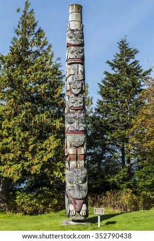 Totem Pole made by the Haida peoples Prince Rupert British Columbia - stock photo