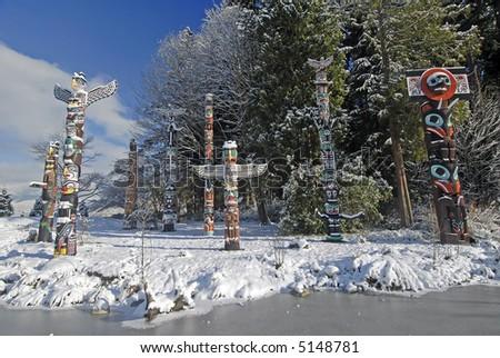 Totem Poles – Stanley Park - stock photo