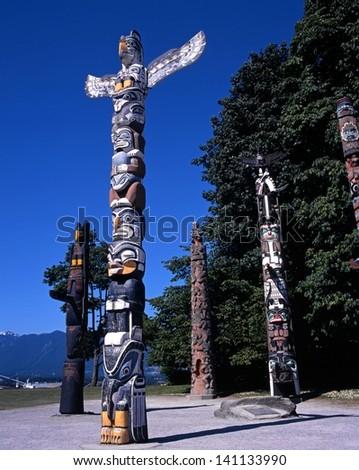 Totem Poles, Stanley Park, Vancouver, British Columbia, Canada - stock photo