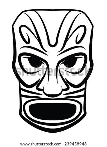 Totem Wooden Black and White Mask - stock photo